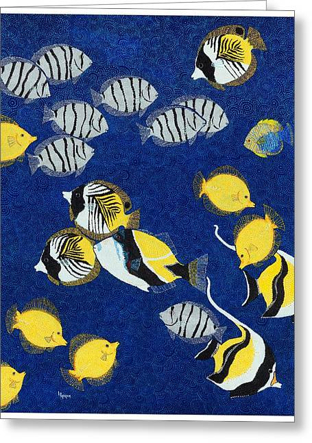 Picaso Greeting Cards - Snorkel Soup Greeting Card by Linda Peterson