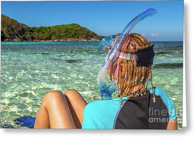 Snorkeler Relaxing On Tropical Beach Greeting Card