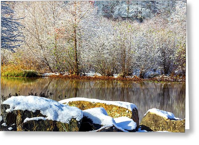 Snow Across The Lake Greeting Card