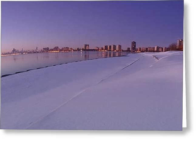 Snow And Chicago Skyline Panoramic Greeting Card
