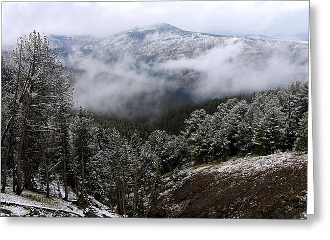 Snow And Clouds In The Mountains Greeting Card by Larry Ricker