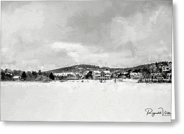 Snow And Ice Covered Lake Greeting Card