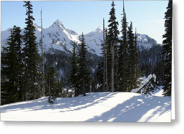 Snow And Shadows On The Mountain Greeting Card by Jane Eleanor Nicholas