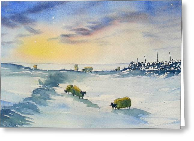 Snow And Sheep On The Moors Greeting Card