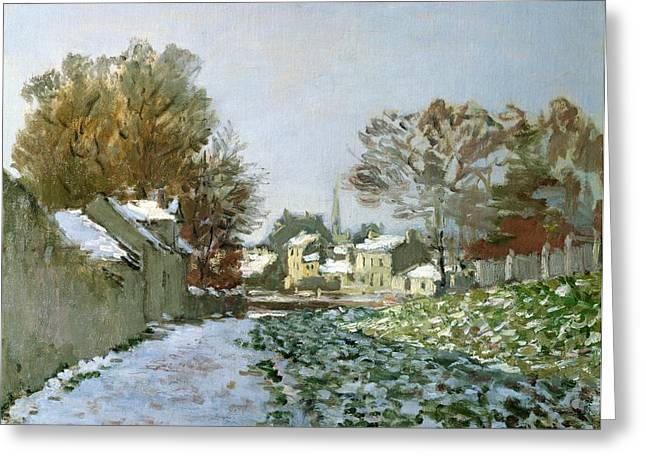 1874 Paintings Greeting Cards - Snow at Argenteuil Greeting Card by Claude Monet