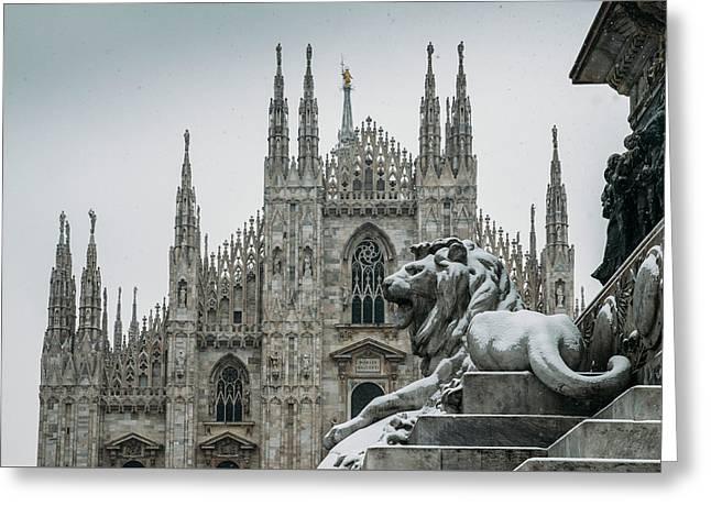 Snow At Milan's Duomo Cathedral  Greeting Card