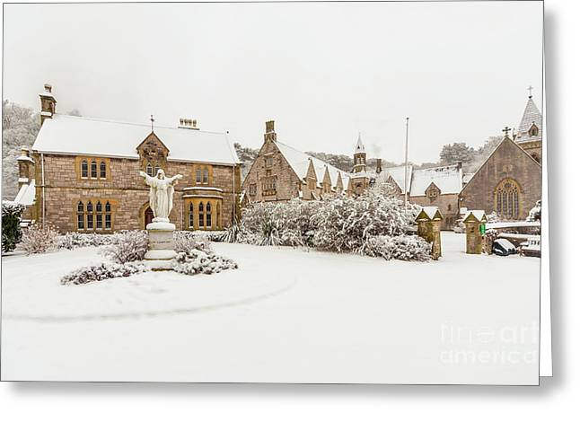 Snow At Pantasaph Friary Greeting Card by Adrian Evans