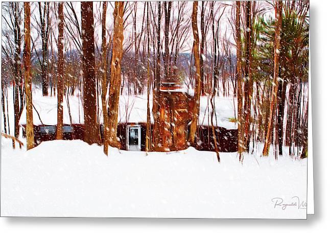 Snow At The Lodge Greeting Card