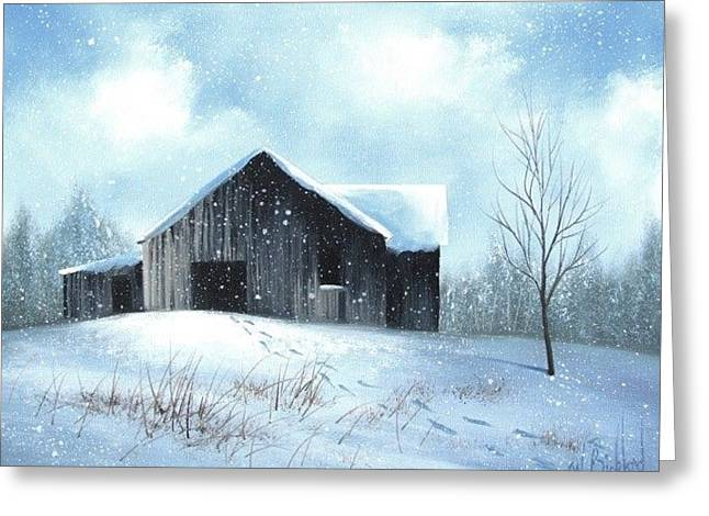 Snow Barn Greeting Card by Janet Jackson