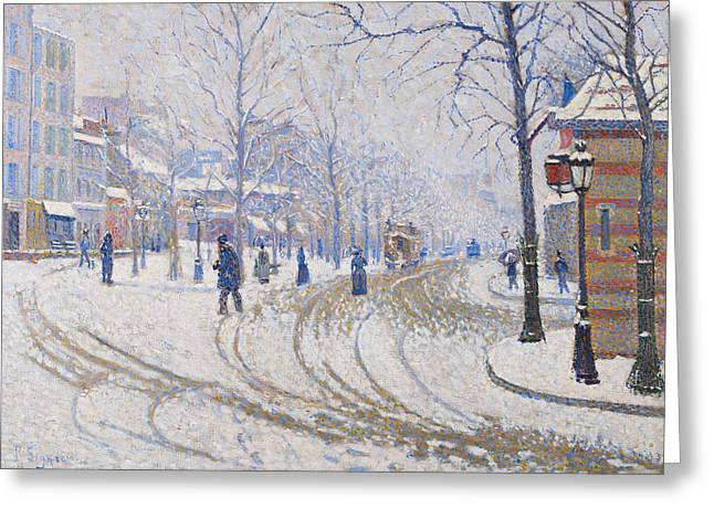 Snow, Boulevard De Clichy, Paris Greeting Card by Paul Signac