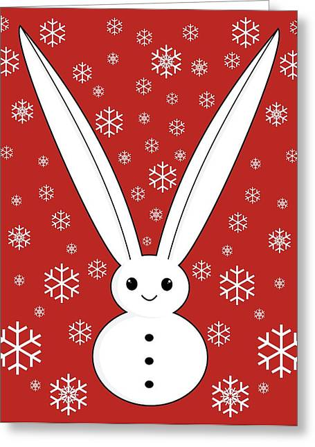 Snow Bunny And Snowflakes Red Greeting Card
