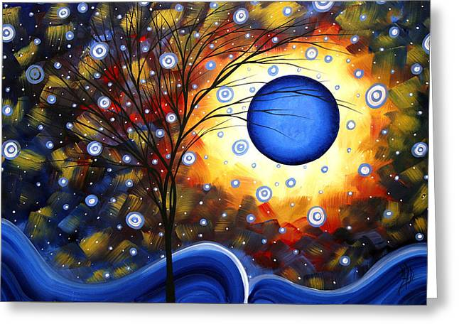 Snow Burst Cirlce Of Life Painting Madart Greeting Card by Megan Duncanson