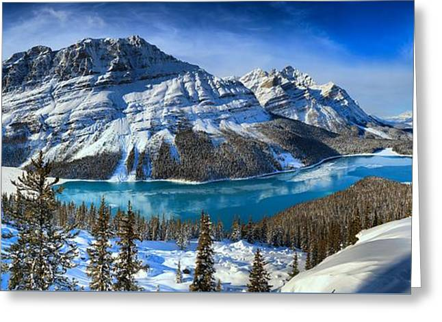Snow Capped Mountains And Icy Blue Waters Greeting Card