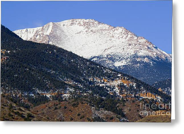 Snow Capped Pikes Peak In Winter Greeting Card
