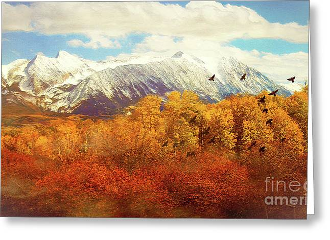 Snow Capped Rocky Mountains Greeting Card by KaFra Art