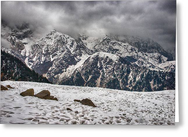 Greeting Card featuring the photograph Snow Capped Triund Hill by Yew Kwang