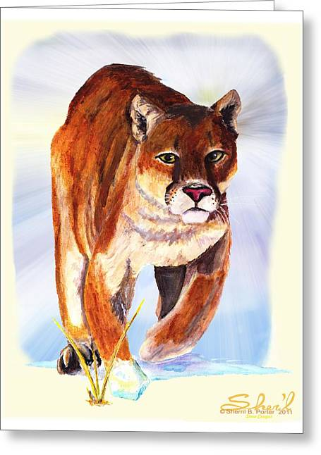 Greeting Card featuring the painting Snow Cougar by Sherril Porter