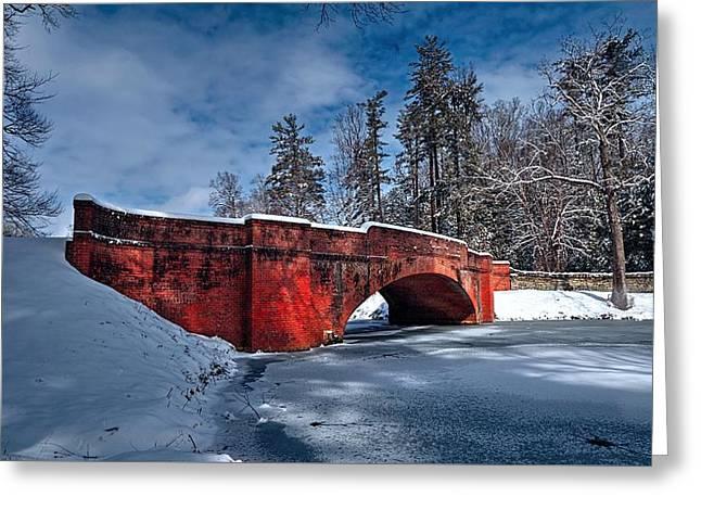 Snow Covered Bass Pond Bridge Greeting Card