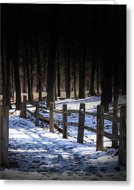 Greeting Card featuring the digital art Snow Covered Bridge by Kim Henderson