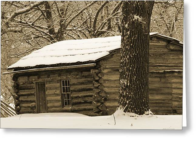 Snow Covered Gardner Cabin Greeting Card