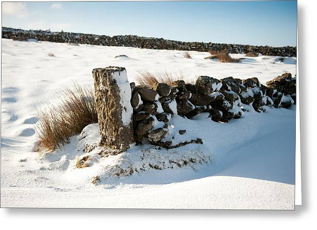 Snow Covered Gatepost Greeting Card