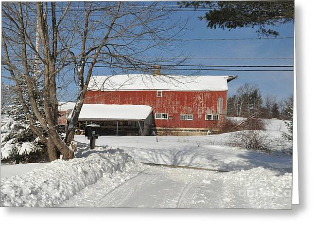 Greeting Card featuring the photograph Snow Covered Masachussetts Barn by John Black