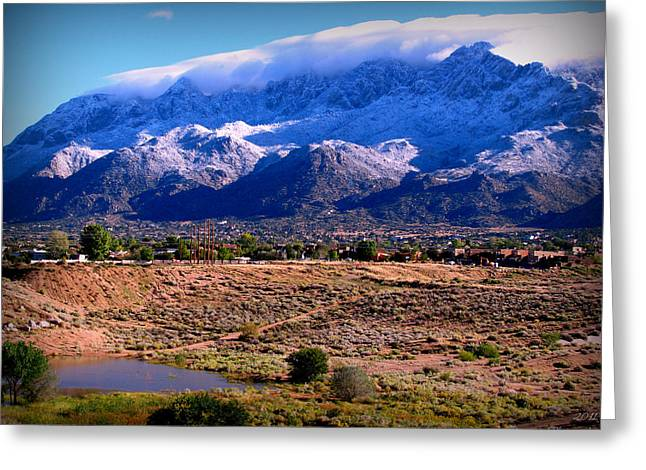Snow Covered Mountains Above The Pond Greeting Card