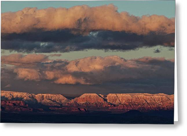 Greeting Card featuring the photograph Snow Covered Red Rock Panorama by Ron Chilston