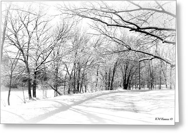 Snow Covered River Road Greeting Card by Kathy M Krause