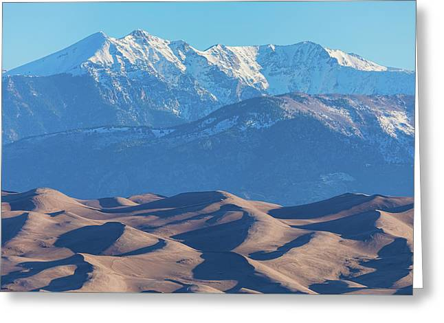 Snow Covered Rocky Mountain Peaks With Sand Dunes Greeting Card by James BO Insogna