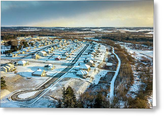 Greeting Card featuring the photograph Snow Covered Subdivision by Randy Scherkenbach