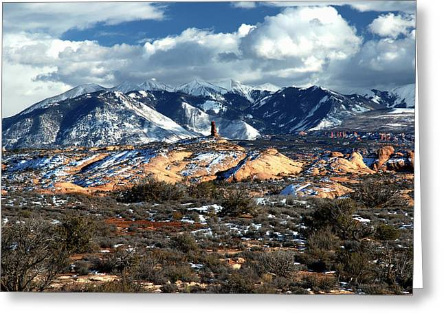Snow Covered Utah Mountain Range Greeting Card