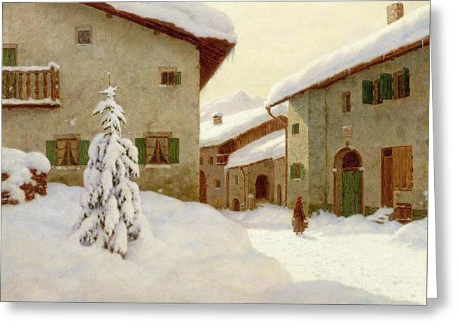 Snow Covered Village In The Winter Greeting Card by Choults