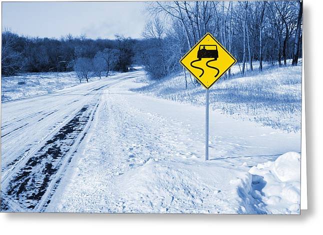 Snow Covered Winter Road Blue Tone Greeting Card by Donald  Erickson