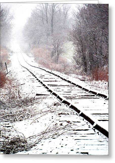 Snow Covered Wisconsin Railroad Tracks Greeting Card