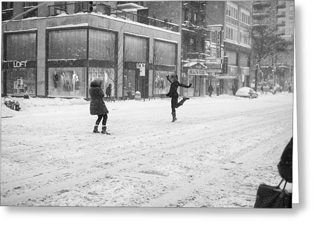 Greeting Card featuring the photograph Snow Dance - Le - 10 X 16 by Dave Beckerman