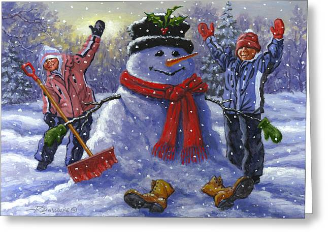 Winter Fun Paintings Greeting Cards - Snow Day Greeting Card by Richard De Wolfe