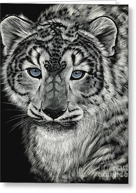 Snow Dragon Leopard Greeting Card