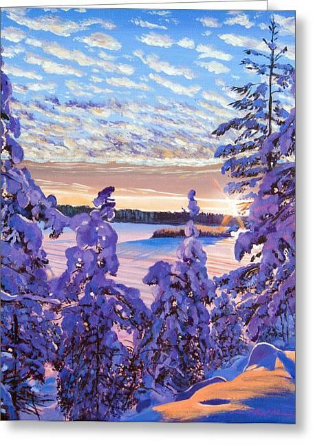 Snow Draped Pines Greeting Card by David Lloyd Glover