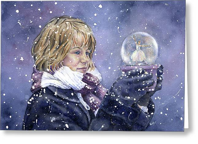 Snow Dreaming Greeting Card by Leslie Redhead