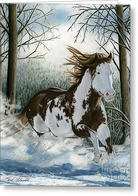 Snow Driftin', Pastel Greeting Card