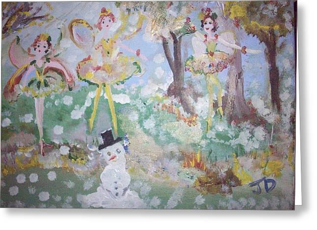 Greeting Card featuring the painting Snow Fairies by Judith Desrosiers