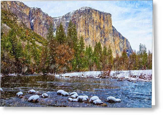 Snow Fall Yosemite Valley Greeting Card by Garry Gay
