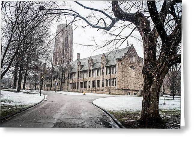 Snow Falling At The University Greeting Card by Rudy Owens
