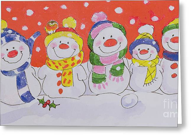 Snow Family Greeting Card by Diane Matthes