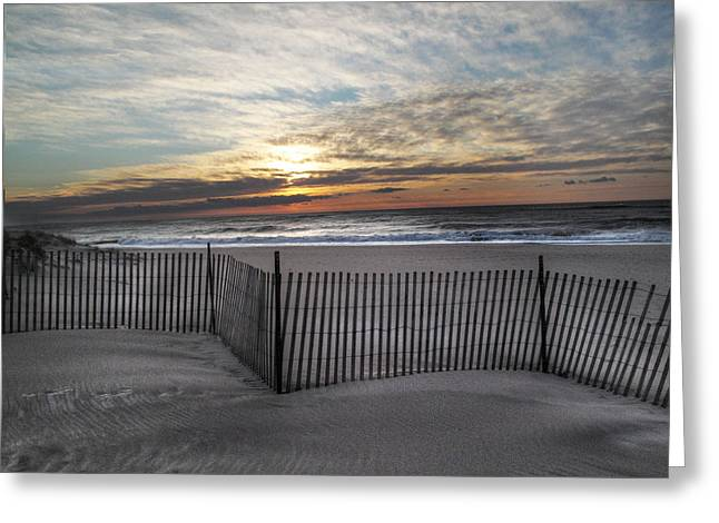 Snow Fence At Coopers Beach Greeting Card