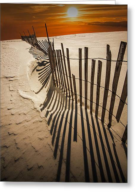 Snow Fence At Sunset Greeting Card