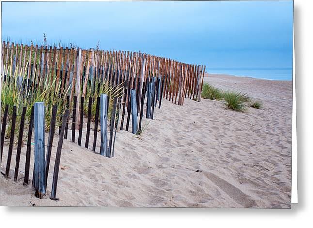 Greeting Card featuring the photograph Snow Fence On The Beach by Chris Babcock