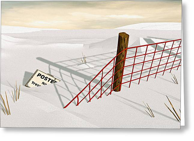 Snow Fence Greeting Card by Peter J Sucy
