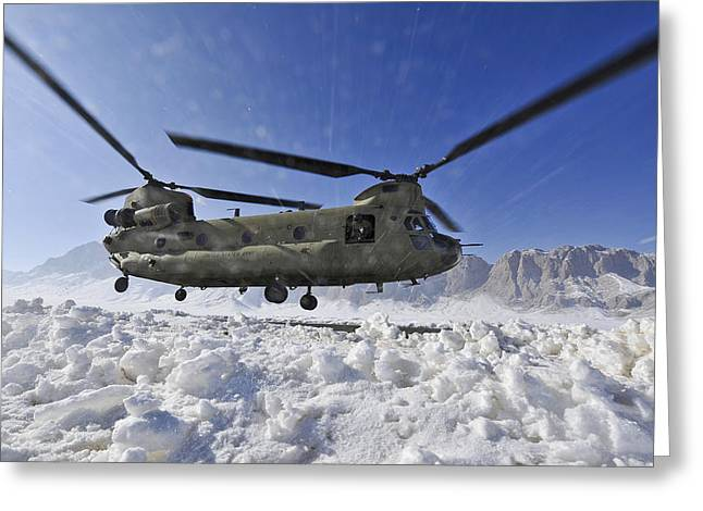 Snow Flies Up As A U.s. Army Ch-47 Greeting Card